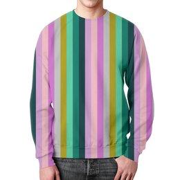 """Свитшот мужской с полной запечаткой """"Полоска"""" - полоска, фиолетовый, зеленый, розовый, пурпурный"""
