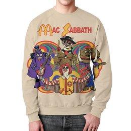 """Свитшот унисекс с полной запечаткой """"Mac Sabbath/Black Sabbath"""" - прикол, heavy metal, макдональдс, mcdonalds, black sabbath"""