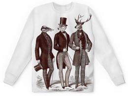 """Свитшот унисекс с полной запечаткой """"Лига Джентльменов"""" - животные, олень, барсук, волк, рога"""