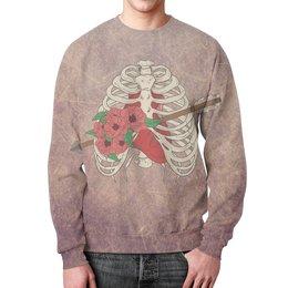 """Свитшот унисекс с полной запечаткой """"Heart and flowers"""" - любовь, цветы, скелет, для влюбленных, на 14 февраля"""