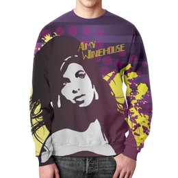"Свитшот мужской с полной запечаткой ""Amy Winehouse"" - звезда, певица, эми уайнхаус, amy winehouse, back to black"