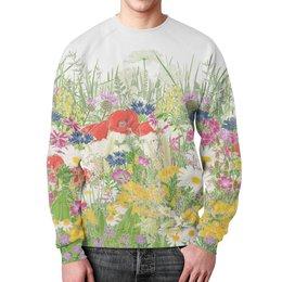 """Свитшот мужской с полной запечаткой """"Цветочная поляна"""" - цветы, ретро, мода, природа, цветочный"""