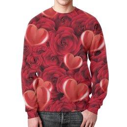"""Свитшот унисекс с полной запечаткой """"Сердечки и розы"""" - любовь, день святого валентина, 14 февраля, сердечки, день влюблённых"""