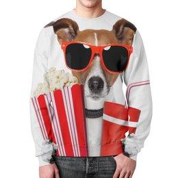 """Свитшот мужской с полной запечаткой """"Песик"""" - очки, собака, собачка, 3д, попкорн"""