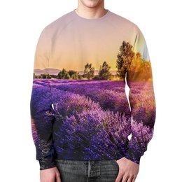 """Свитшот мужской с полной запечаткой """"Поле цветов"""" - цветы, природа, закат, пейзаж, поле"""