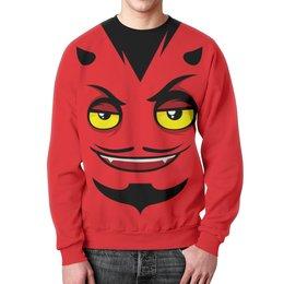 """Свитшот мужской с полной запечаткой """"Monster Face"""" - прикол, юмор, дьявол, монстры, чертик"""