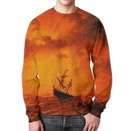 """Свитшот унисекс с полной запечаткой """"Шторм"""" - оранжевый, море, волны, корабль, шторм"""