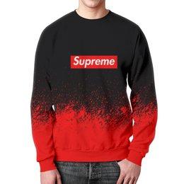 """Свитшот мужской с полной запечаткой """"Supreme (1)"""" - red, краска, supreme, суприм, sup"""