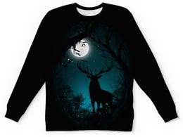 """Свитшот унисекс с полной запечаткой """"Ночной Олень"""" - луна, олень, рога"""