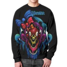 """Свитшот мужской с полной запечаткой """"Monster"""" - skull, череп, monster, монстр, арт дизайн"""