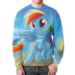 "Свитшот мужской с полной запечаткой ""Радуга Дэш"" - rainbow dash, my little pony, friendship is magic, радуга дэш"