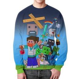 """Свитшот мужской с полной запечаткой """"Minecraft """" - детям, майнкрафт, компютерная игра, пиксильный стиль"""