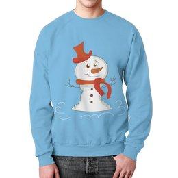 """Свитшот унисекс с полной запечаткой """"Снеговичок"""" - новый год, зима, снеговик, снежинки, праздник"""