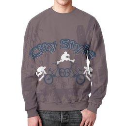 """Свитшот унисекс с полной запечаткой """"Городской стиль"""" - скейт, стиль, город, ролики, велосипед"""