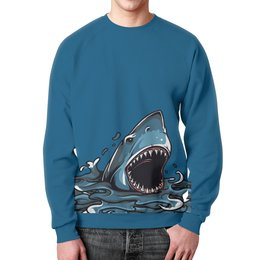 """Свитшот мужской с полной запечаткой """"Акула"""" - море, животное, океан, акула"""