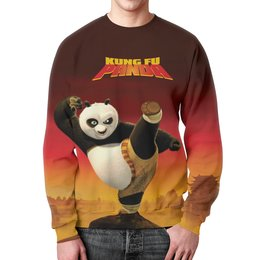 "Свитшот мужской с полной запечаткой ""Кунг-фу Панда 3"" - панда, panda, единоборства, кунг-фу, kung fu"