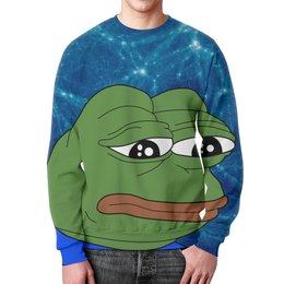 """Свитшот унисекс с полной запечаткой """"SAD FROG"""" - арт, юмор, мем, грустная лягушка, sad frog"""