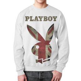 """Свитшот унисекс с полной запечаткой """"Playboy Британский флаг"""" - playboy, плейбой, зайчик, великобритания, плэйбой"""