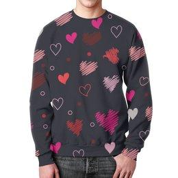 """Свитшот мужской с полной запечаткой """"Мое сердечко"""" - любовь, день святого валентина, 14 февраля, подарок, сердечки"""