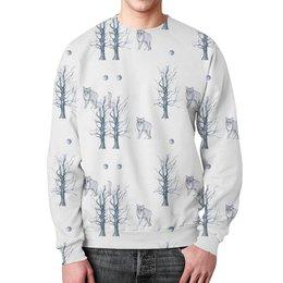 """Свитшот унисекс с полной запечаткой """"Лесной житель"""" - черно-белое, графика, дерево, волк"""