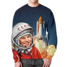 """Свитшот мужской с полной запечаткой """"GAGARIN"""" - космос, гагарин, ракета, космонавт, юрий гагарин"""