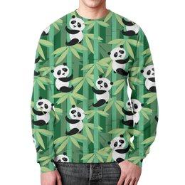 """Свитшот унисекс с полной запечаткой """"Жизнь панд"""" - узор, животные, панда, лес, бамбук"""