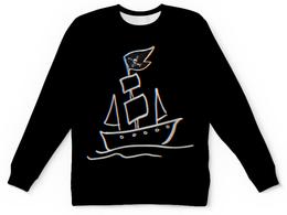 """Свитшот унисекс с полной запечаткой """"""""Pirat's ship"""" Черный"""" - skull, black, ship, pirates, pirat"""