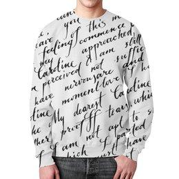 """Свитшот мужской с полной запечаткой """"Письмо"""" - английский, слова, письмо, черно-белые, буквы"""
