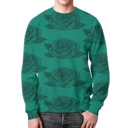"""Свитшот мужской с полной запечаткой """"Узор роз"""" - цветы, узор, весна, природа, розы"""