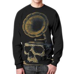 "Свитшот унисекс с полной запечаткой ""Skull Art"" - skull, череп, artwork, граммофон, арт дизайн"