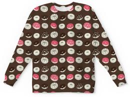 """Свитшот унисекс с полной запечаткой """"Пончики"""" - еда, шоколад, пончик"""