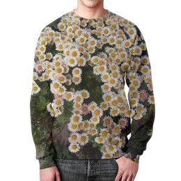 """Свитшот мужской с полной запечаткой """"Цветы ноября"""" - макро, хризантемы, белые, клумба, контраст"""