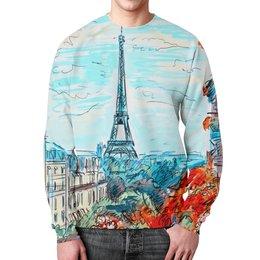 """Свитшот мужской с полной запечаткой """"Париж"""" - город, краски, природа, париж, эйфелева башня"""