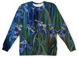"""Свитшот унисекс с полной запечаткой """"Танец цветов"""" - весна, лепестки, живопись, оригинальный подарок, синее для девушки"""