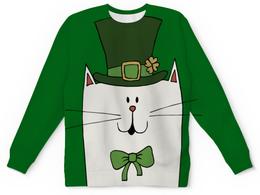 """Свитшот унисекс с полной запечаткой """"Ирландский Кот"""" - день святого патрика, кот, ирландия, клевер"""