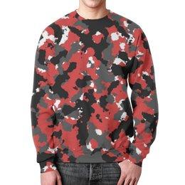 """Свитшот мужской с полной запечаткой """"Red Urban Camo"""" - арт, красный, камуфляж"""