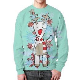 """Свитшот мужской с полной запечаткой """"олень"""" - зима, снежинки, олень"""