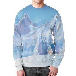"""Свитшот мужской с полной запечаткой """"Зимний пейзаж"""" - зима, снег, картина, природа, пейзаж"""