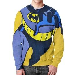 "Свитшот мужской с полной запечаткой ""Бэтшот"" - batman, ярко, желтый, бэтмен"