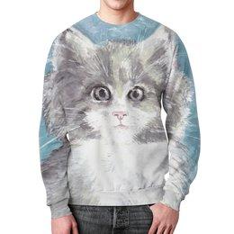"""Свитшот мужской с полной запечаткой """"Взгляд кошки"""" - кот, кошка, взгляд, подарок, зверь"""