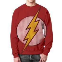 """Свитшот мужской с полной запечаткой """"Флэш (Flash)"""" - flash, комиксы, молния, вспышка, флэш"""