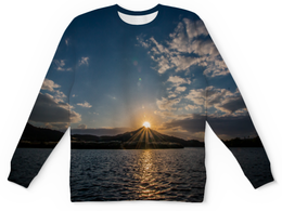 """Свитшот унисекс с полной запечаткой """"Закат """" - солнце, море, природа, закат, горы"""
