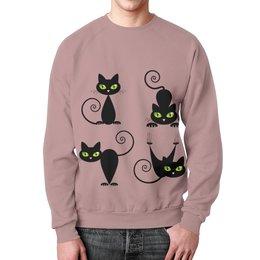 """Свитшот унисекс с полной запечаткой """"Кошки 7"""" - рисунок, кошки, зелёные глаза, чёрная кошка"""