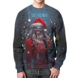 """Свитшот мужской с полной запечаткой """"Zombie Claus"""" - череп, юмор, новый год, зомби, санта клаус"""
