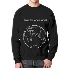 """Свитшот унисекс с полной запечаткой """"Свитшот с картой полушария мира и """" - мир, планета, карта, земля"""