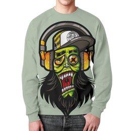 "Свитшот унисекс с полной запечаткой ""Зомби меломан"" - музыка, череп, zombie, зомби, наушники"