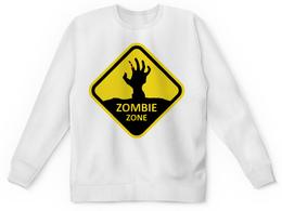 """Свитшот унисекс с полной запечаткой """"ZOMBIE ZONE"""" - zombie, зомби, знак, желтый, зона"""