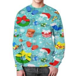 """Свитшот мужской с полной запечаткой """"Подарки"""" - праздник, новый год, зима, подарки, снежинки"""