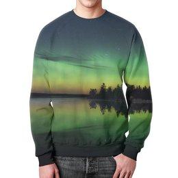"""Свитшот мужской с полной запечаткой """"Сумерки"""" - деревья, природа, пейзаж, озеро, вечер"""