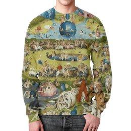 """Свитшот мужской с полной запечаткой """"Сад земных наслаждений"""" - картина, сад, искусство, босх"""